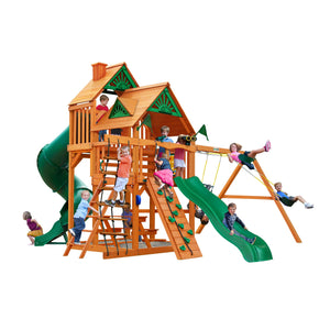 Gorilla Great Sky Swing Set, Alpine Wave Slide, 7' Turbo Tube Slide, Rock Wall w/ Climbing Rope Wooden Outdoor Playset - Rainbow Playhouses