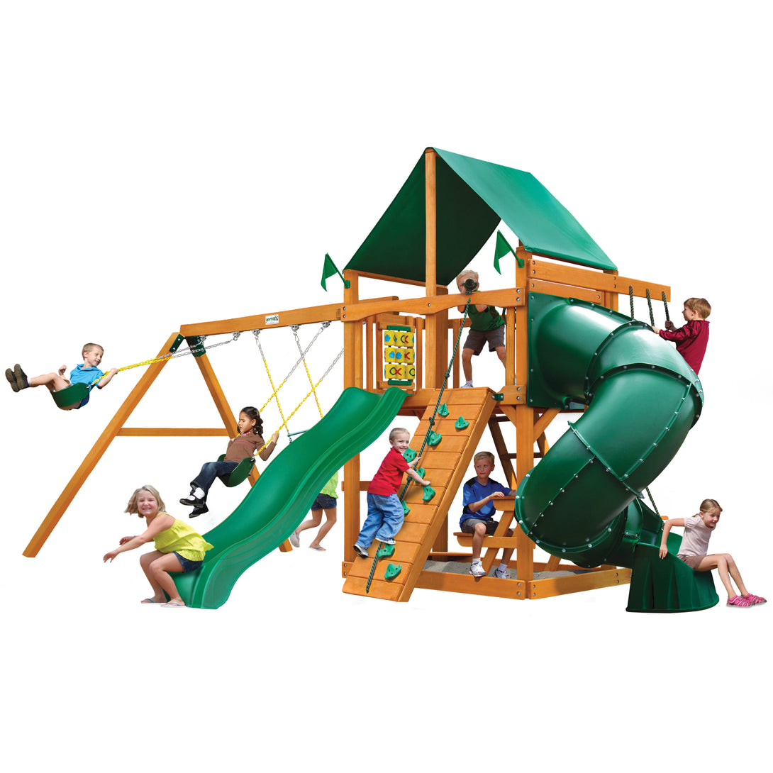 Gorilla Mountaineer Swing Set, Extreme Tube Slide II, Rock Wall w/ Climbing Rope, Deluxe Rope Ladder Alpine Wave Slide - Rainbow Playhouses