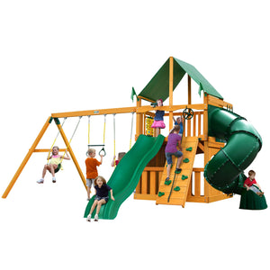 Gorilla Mountaineer Clubhouse Swing Set, Alpine Wave Slide, Extreme Tube Slide, Rock Wall w/ Climbing Rope - Rainbow Playhouses