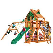 Gorilla Navigator Swing Set, Rock Wall w/ Climbing Rope, Deluxe Rope Ladder, Monkey Bars with Heavy-Duty Metal Rungs - Rainbow Playhouses