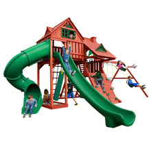 Gorilla Sun Palace Swing Set, Rock Wall w/ Climbing Rope, Metal Access Handles, Deluxe Rope Ladder - Rainbow Playhouses