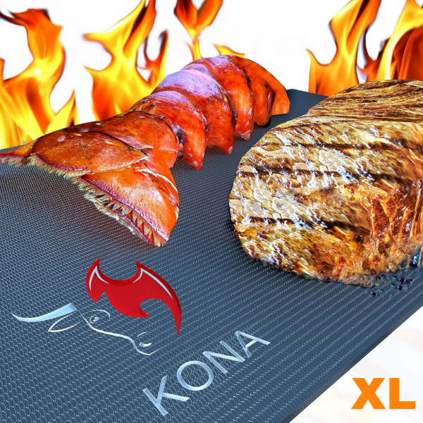 "KONA EXTRA LARGE BBQ Grill Mat - 25""x17"" Heavy Duty 600 Degree Non-Stick Grilling Mat"