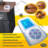 Wireless Remote Grill & Smoker Thermometer - Great For BBQ & Ovens