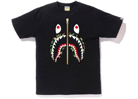 Bape Shark ABC Green Camo Lip Tee SS19