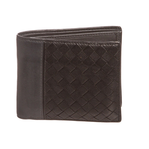 Bottaega Veneta Leather Mens Woven Bifold Wallet 'Black Gray'