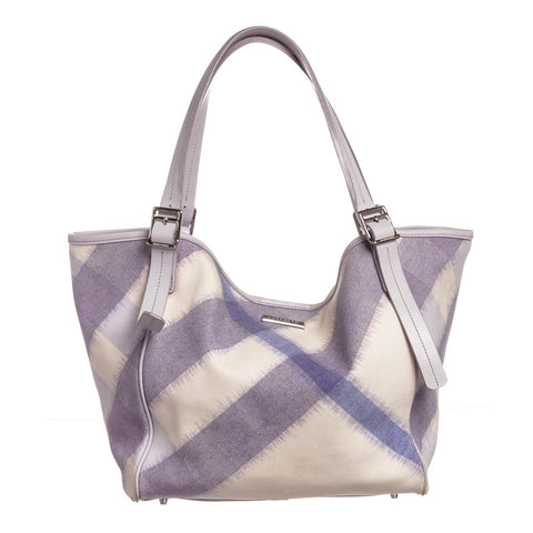 Burberry Canvas Leather Supernova Check Tote Bag 'White/Purple'