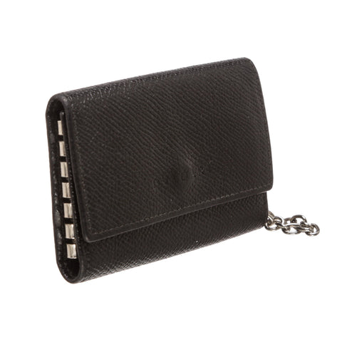 Bvlgari Grained Leather Six Key Holder Case 'Black'