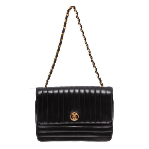 Chanel Line Flap Lambskin Leather Crossbody Bag