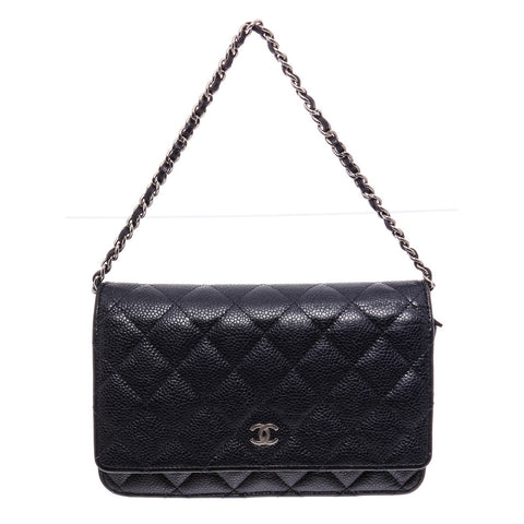 Chanel Navy Blue Caviar Leather Wallet On Chain WOC CrossbodyBag