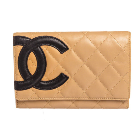 Chanel Quilted Lambskin Leather Black CC Cambon Medium Wallet 'Beige'