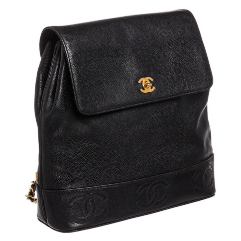 Chanel Vintage Caviar Leather CC Backpack 'Black'