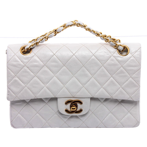 Chanel White Lambskin Leather Distressed Classic Crossbody Bag