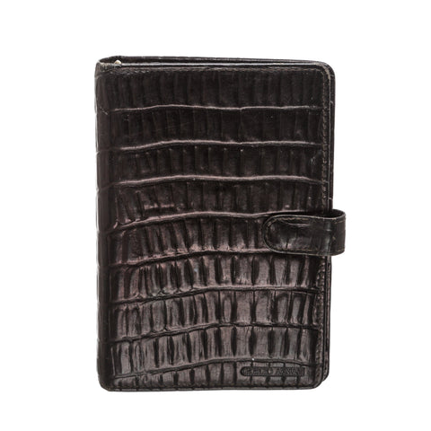 Giorgio Armani Leather Embossed Agenda Notebook 'Brown'