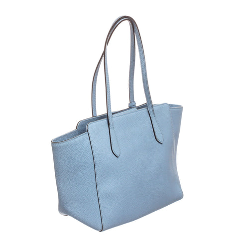 Gucci Textured Grained Leather Swing Tote Bag 'Light Blue'