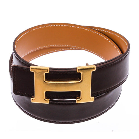 Hermes Black Tan Brown Reversible Leather Constance Belt