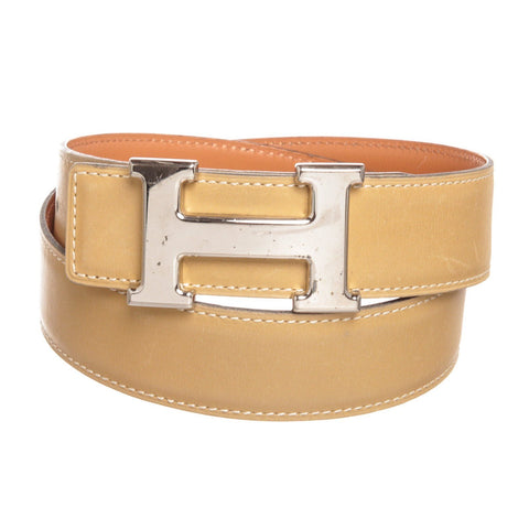 Hermes Leather Reversible Constance H Palladium Belt 70 'Beige'