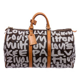 LV Monogram Canvas Leather Graffiti Keepall 50 Bag