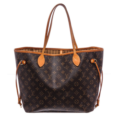 LV Monogram Canvas Leather Neverfull MM Tote Bag