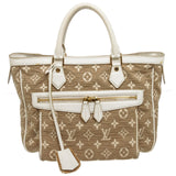 Louis Vuitton Beige White Monogram Fabric Leather Sabbia Cabas MM Bag