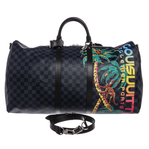 Louis Vuitton Canvas Leather Jungle Keepall Bandouliere Bag 'Damier Cobalt'