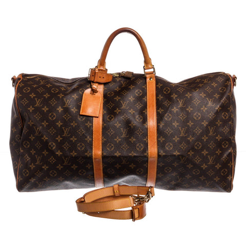 Louis Vuitton Canvas Leather Keepall Bandouliere Duffle Bag Luggage 'Monogram'