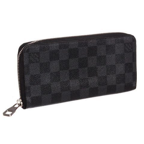 Louis Vuitton Canvas Leather Vertical Zippy Wallet 'Damier Graphite'