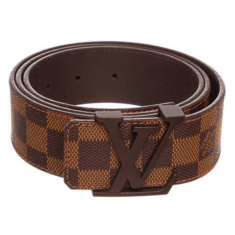 Louis Vuitton Damier Ebene Canvas Leather Initials Belt 95