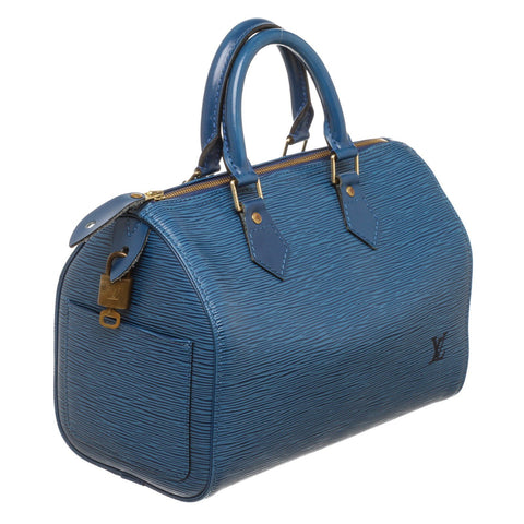 Louis Vuitton Epi Leather Speedy 25 cm Satchel Bag 'Blue'