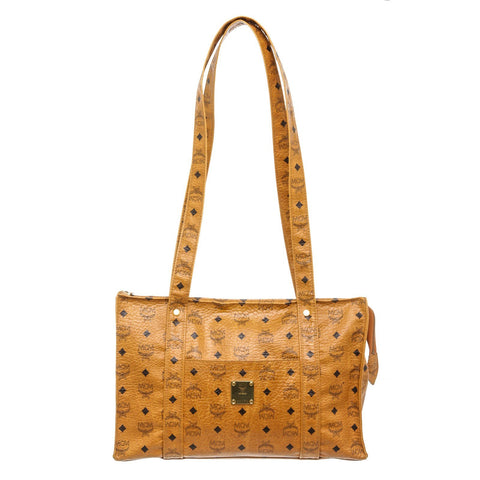 MCM Cognac Visetos Coated Canvas Leather Tote Bag