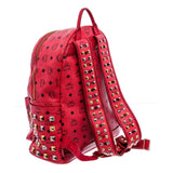 MCM Red Visetos Canvas Leather Stark Stud Backpack