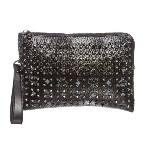 MCM Stark Special Studded Clutch Pochette Bag 'Black Gray'