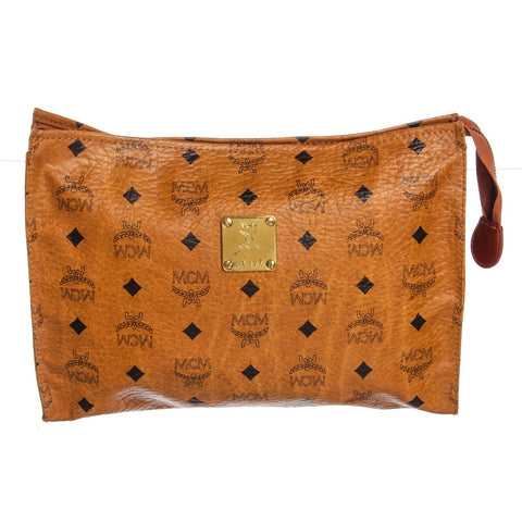 MCM Visetos Coated Canvas Pouch Bag 'Cognac'