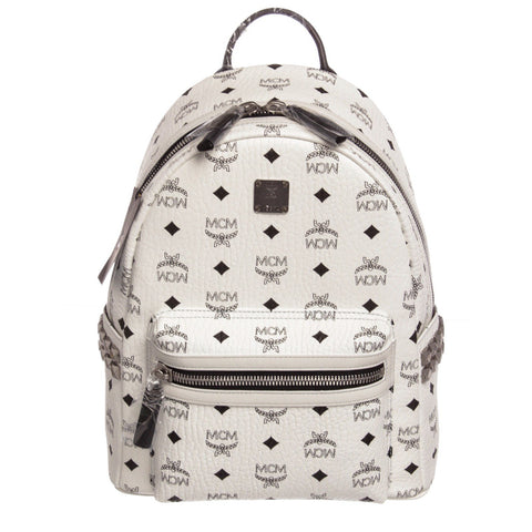 MCM Visetos Coated Canvas Small Stark Backpack 'White/Black'