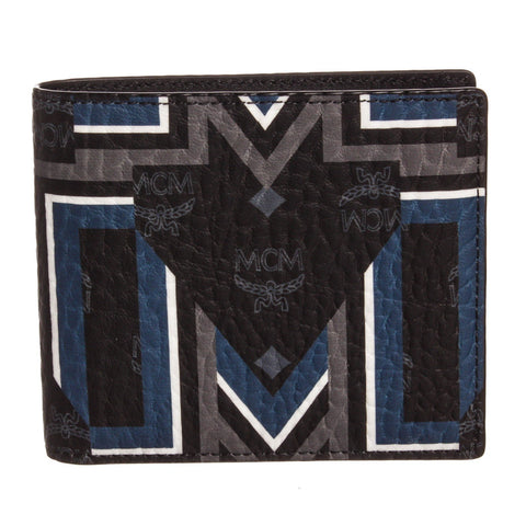 MCM Visetos Leather Gunta M Stripe Bifold Wallet 'Black Multicolor'