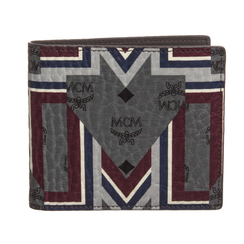 MCM Visetos Leather Gunta M Stripe Bifold Wallet 'Gray Multicolor'