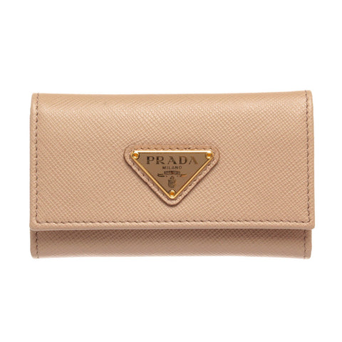 Prada Saffiano Leather 6 Key Holder 'Beige'