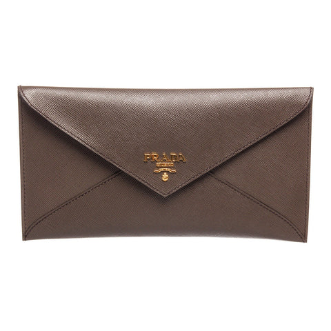 Prada Saffiano Leather Envelope Long Wallet 'Taupe'