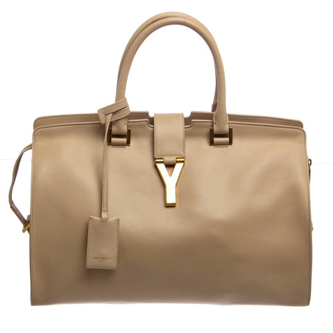 Saint Laurent YSL Leather Classic Y Cabas Tote 'Beige'