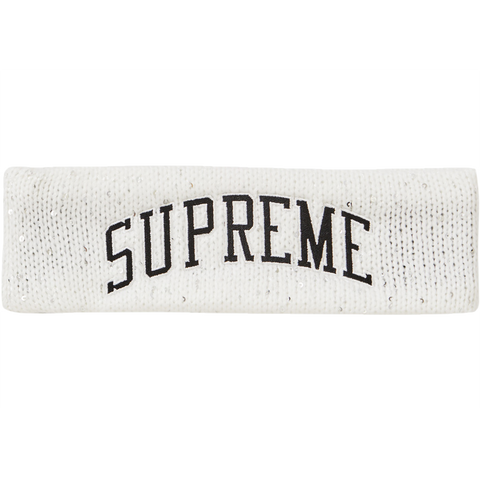 Supreme New Era Sequin Arc Logo Headband 'White'