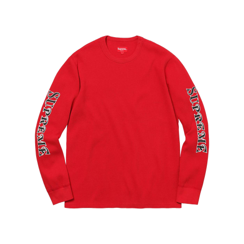 Supreme Sleeve Logo Waffle Thermal 'Red'
