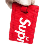 Supreme x Louis Vuitton Black Epi Leather Luggage Tags Set 'Black and Red'