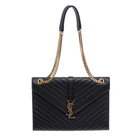 YSL Black Grain De Poudre Chevron Large Envelope Shoulder Bag