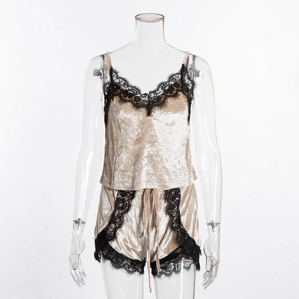 Straps Sleeping Top and Shorts with Lace Trim