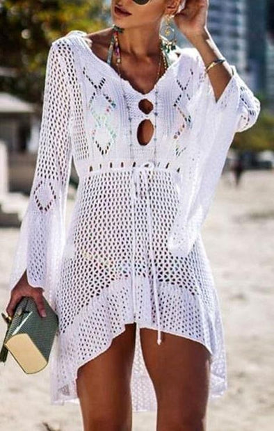 Long Sleeves Crochet High Low Swimwear1