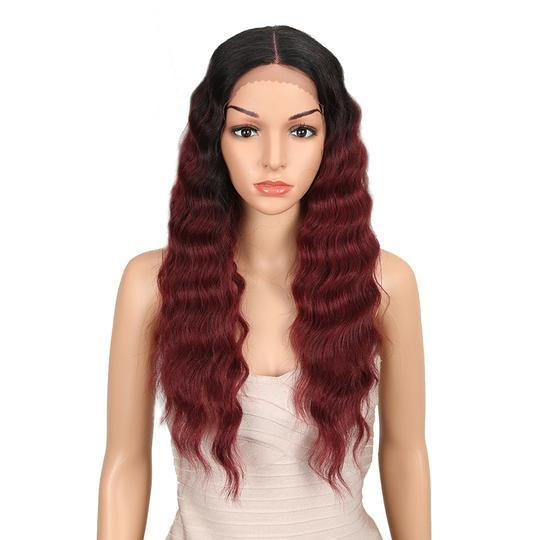 High quality lace front wig Black wine red long 24 inch wig natural hairline