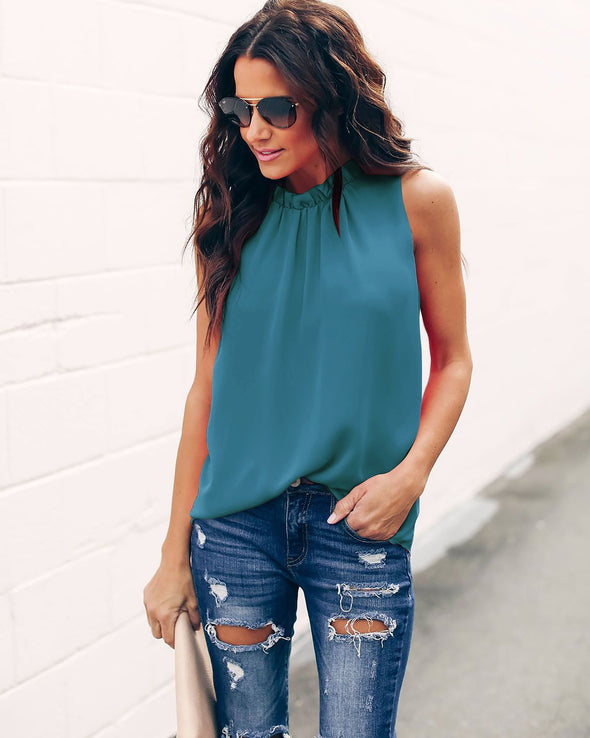 Plain Color Chiffon Tank