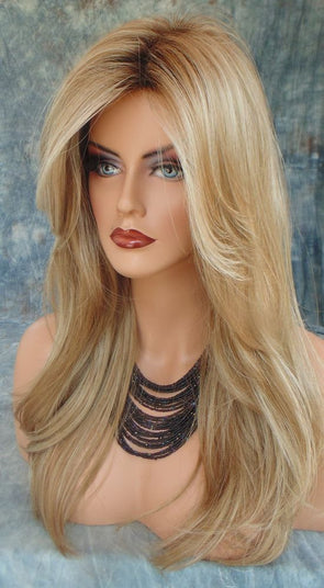 30Inches Long Straight Black Root Ombre wig blonde Brown Wigs Heat Resistant Fiber For Women Cosplay middle part