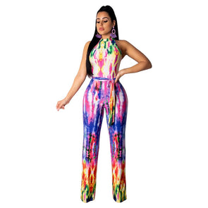 Print Colorful Scoop Jumpsuit with Belt