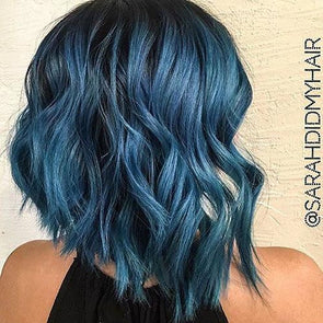Blue Wigs Lace Frontal Hair 100 Human Hair Lace Front Wigs Fake Wigs Long Bob Haircut