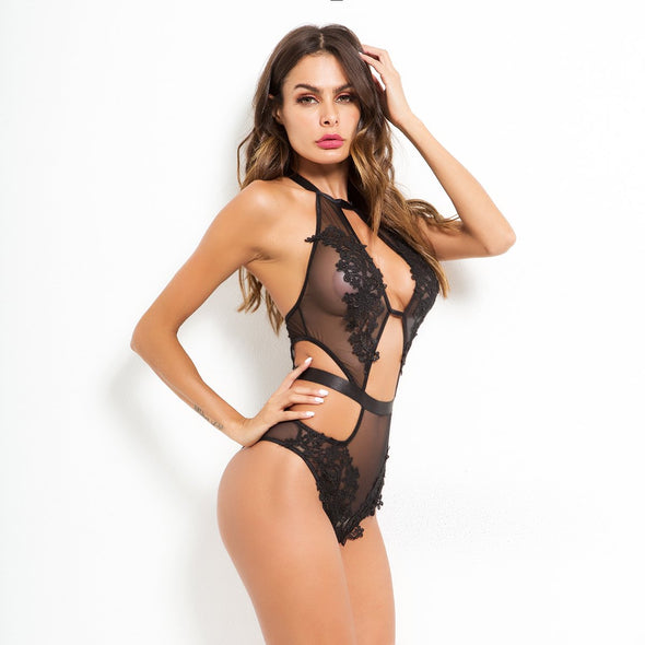 Black Mesh Flower Teddy Lingerie